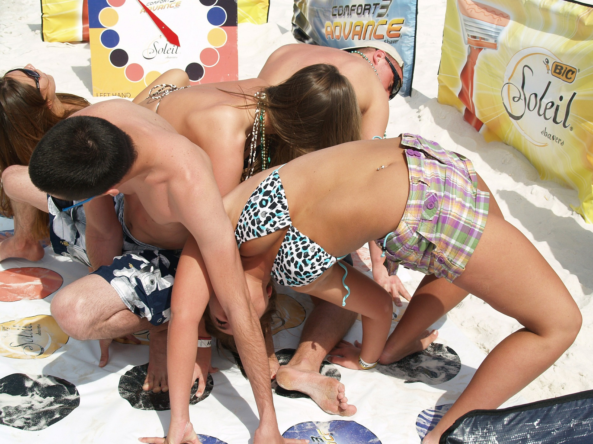 "People playing ""Twister"" at Spring Break"